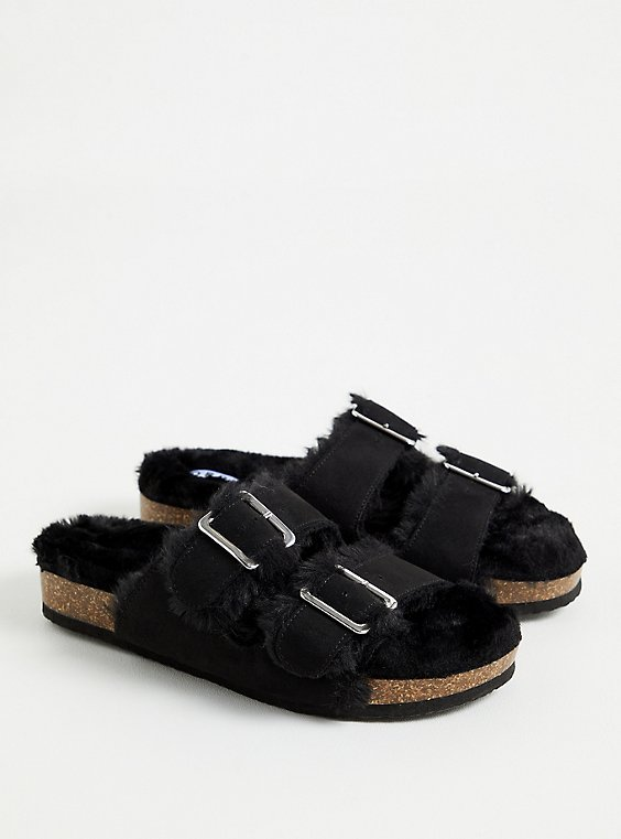 Black Faux Fur-Lined Double Band Slide Sandal (WW), , hi-res