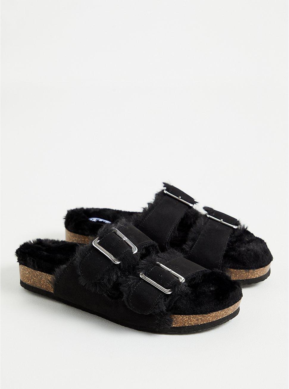 Black Faux Fur-Lined Double Band Slide Sandal (WW), BLACK, hi-res