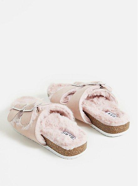 Light Pink Faux Fur-Lined Double Band Slide Sandal (WW), BLUSH, alternate