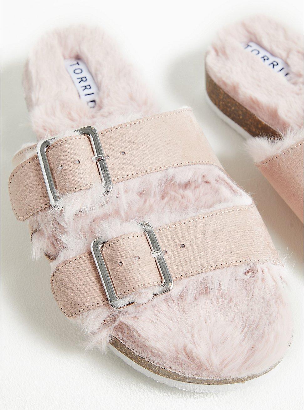 Light Pink Faux Fur-Lined Double Band Slide Sandal (WW), BLUSH, hi-res