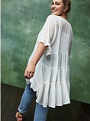 White Clip Dot Ruffle Tiered Kimono, CLOUD DANCER, hi-res