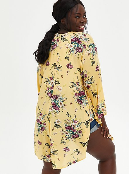 Yellow Floral Crepe Shirttail Kimono, MULTI FORAL, alternate