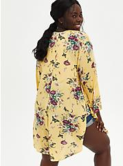Yellow Floral Crepe Shirttail Kimono, MULTI FORAL, alternate