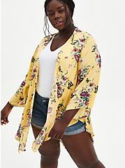 Yellow Floral Crepe Shirttail Kimono, MULTI FORAL, hi-res