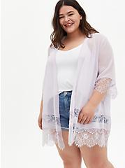 Lavender Purple Lace Chiffon Kimono, IRIS, hi-res