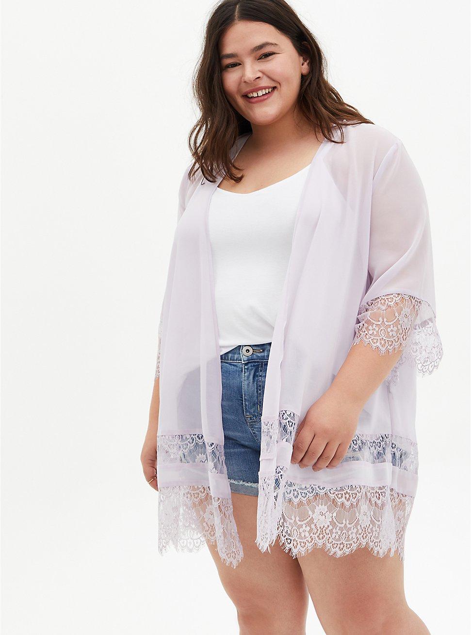 Plus Size Lavender Purple Lace Chiffon Kimono, IRIS, hi-res