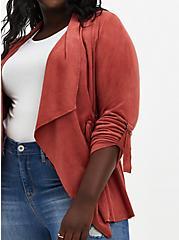 Plus Size Marsala Red Faux Suede Drape Front Jacket , MARSALA, alternate