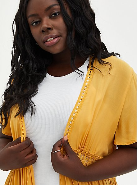 Golden Yellow Challis Crochet Duster Kimono, BRIGHT GOLD, alternate
