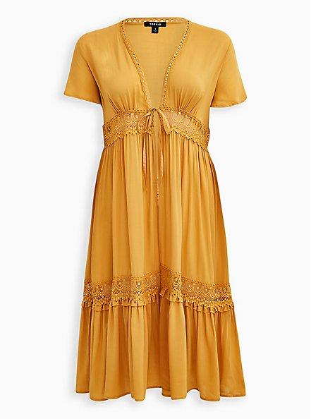 Golden Yellow Challis Crochet Duster Kimono, BRIGHT GOLD, hi-res