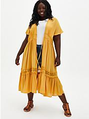 Golden Yellow Challis Crochet Duster Kimono, BRIGHT GOLD, hi-res