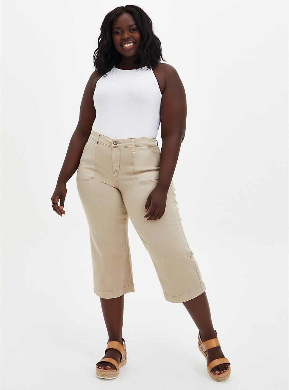 Crop Wide Leg Utility Pant - Twill Khaki, KHAKI, hi-res