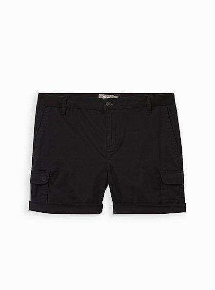Black Poplin Utility Short, DEEP BLACK, hi-res