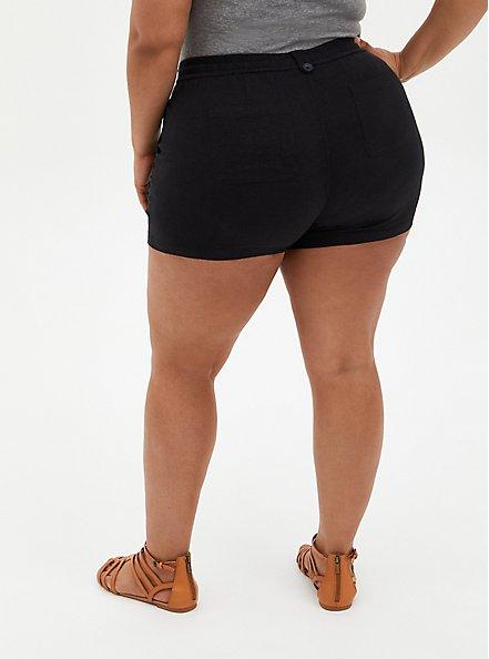 Black Linen Pull-On Short, DEEP BLACK, alternate