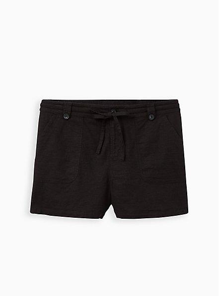 Black Linen Pull-On Short, DEEP BLACK, hi-res