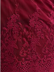 Red Wine Mesh Embroidered Pull-On Short, BEET RED, alternate