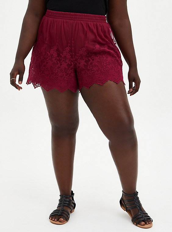 Red Wine Mesh Embroidered Pull-On Short, BEET RED, hi-res