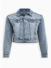 80's Denim Trucker Jacket - Acid Wash Crop , ACID, hi-res