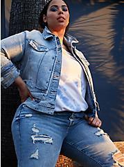 80's Denim Trucker Jacket - Acid Wash Crop , ACID, hi-res
