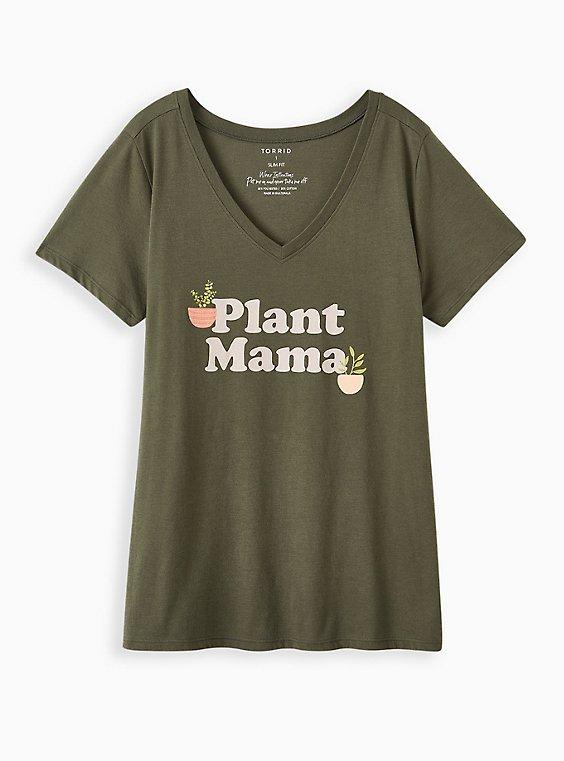 Slim Fit V-Neck Tee - Plant Mama Olive Green, , hi-res