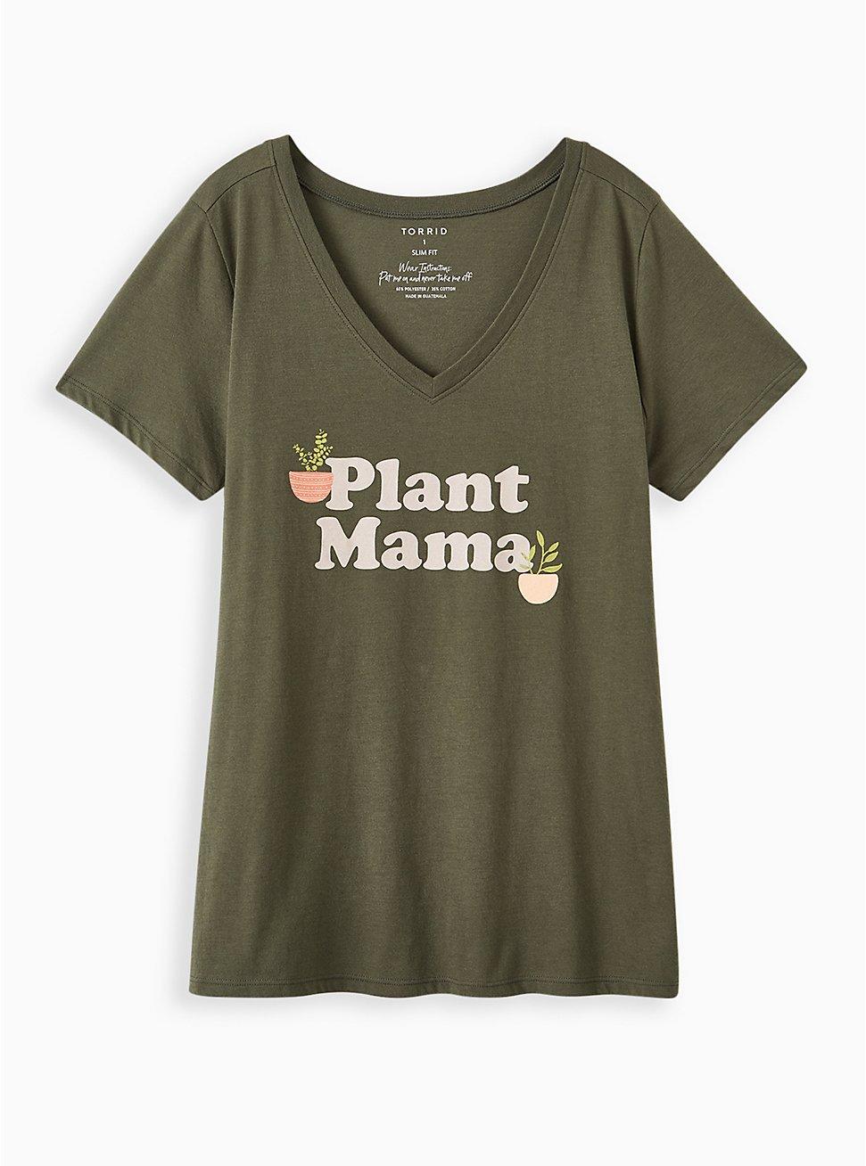 Slim Fit V-Neck Tee - Plant Mama Olive Green, DEEP DEPTHS, hi-res