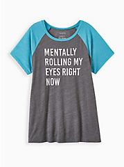 Classic Fit Raglan Tee - Triblend Mentally Rolling Eyes Charcoal Grey, CHARCOAL, hi-res