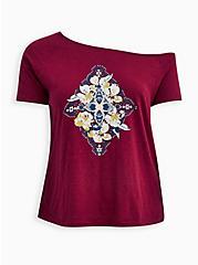 Off Shoulder Tee - Heritage Slub Mandala Red Wine, BEET RED, hi-res