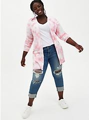 Pink Tie-Dye Boyfriend Cardigan Sweater, DIANTHUS, alternate