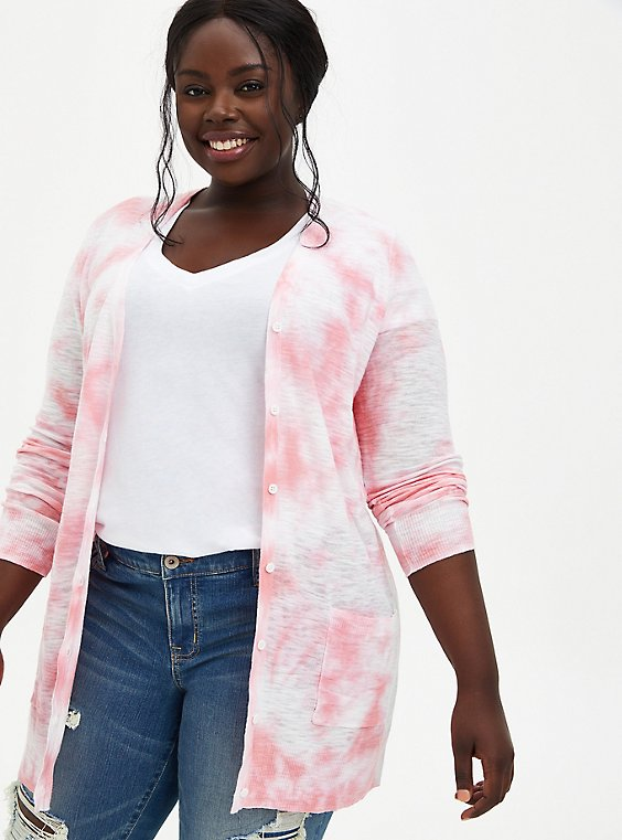 Pink Tie-Dye Boyfriend Cardigan Sweater, DIANTHUS, hi-res