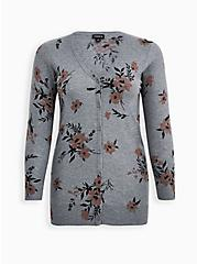 Heather Grey Floral Button Front Cardigan Sweater, FLORAL - GREY, hi-res