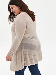 Oatmeal Pointelle Stitch Cardigan Sweater, MUSHROOM, alternate