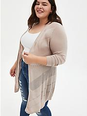 Oatmeal Pointelle Stitch Cardigan Sweater, MUSHROOM, hi-res