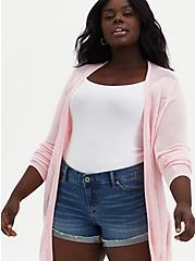 Plus Size Light Pink Pointelle Stitch Cardigan Sweater, ALMOND BLOSSOM, alternate