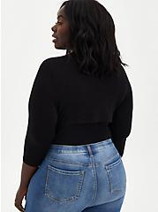 Super Soft Black Tie-Front Shrug, DEEP BLACK, alternate
