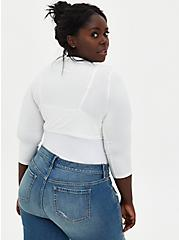 Super Soft White Tie-Front Shrug , CLOUD DANCER, alternate