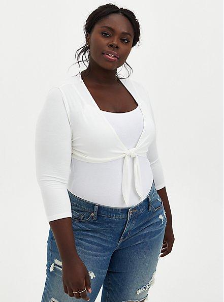 Super Soft White Tie-Front Shrug , CLOUD DANCER, hi-res