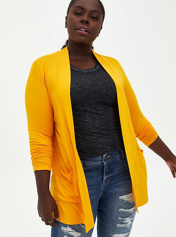 Plus Size Super Soft Golden Yellow Cardigan Sweater, OLD GOLD, hi-res