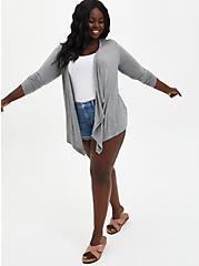Super Soft Crochet Grey Cardigan Sweater, HEATHER GREY, alternate