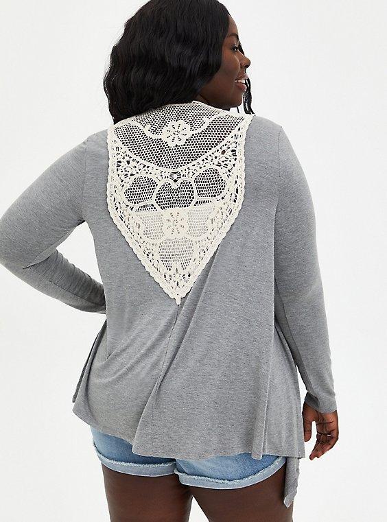 Plus Size Super Soft Crochet Grey Cardigan Sweater, HEATHER GREY, hi-res