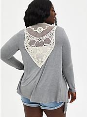 Super Soft Crochet Grey Cardigan Sweater, HEATHER GREY, hi-res