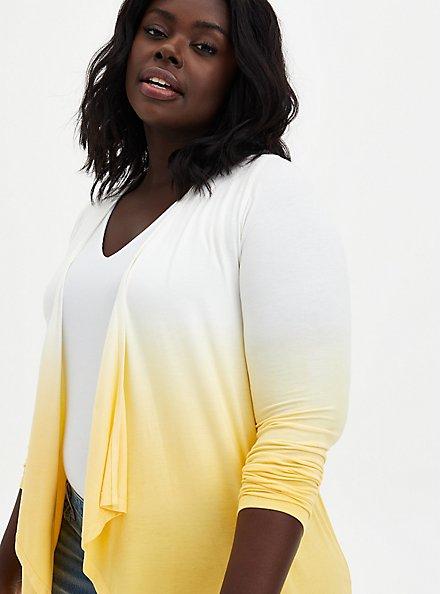 Super Soft Yellow Dip-Dye Cardigan Sweater, SUNDRESS, hi-res