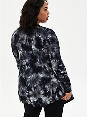 Super Soft Black Tie-Dye Fit & Flare Cardigan Sweater, DEEP BLACK, alternate