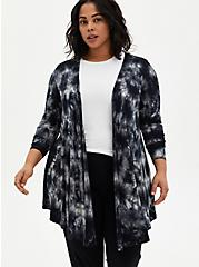 Super Soft Black Tie-Dye Fit & Flare Cardigan Sweater, DEEP BLACK, hi-res