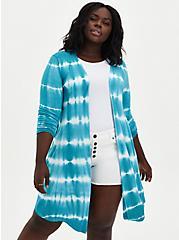 Super Soft Teal Tie-Dye Fit & Flare Cardigan Sweater, TAHITI BLUE, alternate