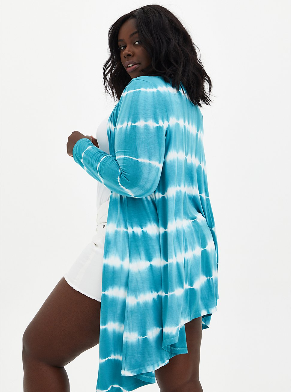 Super Soft Teal Tie-Dye Fit & Flare Cardigan Sweater, TAHITI BLUE, hi-res