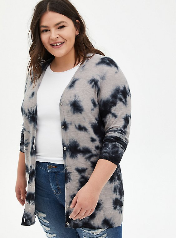Black Tie-Dye Boyfriend Cardigan Sweater, DEEP BLACK, hi-res