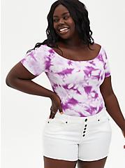 Purple Tie-Dye Off Shoulder Crop Top, PURPLE, hi-res
