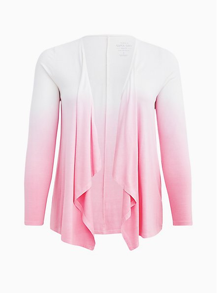 Super Soft Light Pink Ombre Cardigan Sweater, DIANTHUS, hi-res