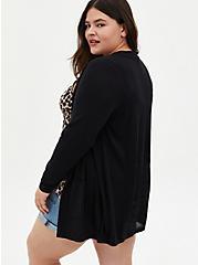 Black Pointelle Back Cardigan Sweater, DEEP BLACK, alternate