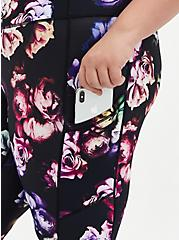 Black & Multi Floral Wicking Active Legging With Pockets, FLORAL - BLACK, alternate