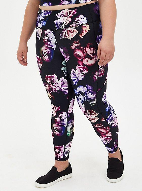 Black & Multi Floral Wicking Active Legging With Pockets, FLORAL - BLACK, hi-res
